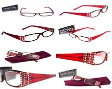 Ladies READING EYEGLASSES Made with SWAROVSKI Elements Lively Women +1.50 Red