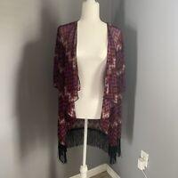 NWT Womens Lularoe Monroe Size Small Kimono Topper With Fringe