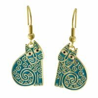 Jubilee Cat Laurel Burch Dangling Drop Earrings Turquoise Gold
