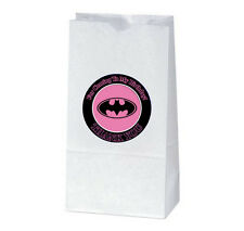 12 BATMAN Pink Birthday Party TREAT BAGS with STICKERS (2.5 inches)
