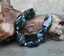 Teal Peacock Tabs -  Handmade Glass Lampwork Tab Beads SRA ooak