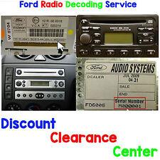 Ford Fiesta MK5 95 - 02 FACTORY Visteon Autoradio Stereo M CODICE di sblocco di serie
