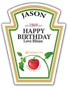 PERSONALISED HEINZ TOMATO KETCHUP LABEL - PARTY / BIRTHDAY / WEDDING OCCASION