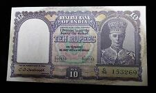 1943 India ND 10 Rupees Banknote