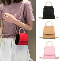 Solid Color Pearls Shoulder Handbags Leather Women Lattice Crossbody Bags
