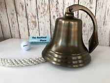 "7"" Antique Brass Finish Ship Bell w/ Lanyard & Bracket ~ Nautical Maritime Wall"