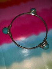 Turquoise & Silver Tone Round Bead Hand Twisted Wire Bangle Bracelet