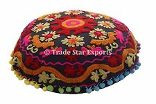 Vintage Uzbek Suzani Round Cushion Cover Indian Embroidered Decorative Pillow