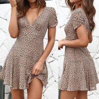 Women Elegant Ruffles Short Sleeve Summer V Neck Slim Fitted Dress Casual Beach