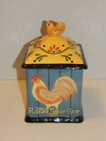 """Hand-Painted Earth-Enware - Rooster Rise & Shine Cafe - 9.5"""" Cookie Jar - NICE"""