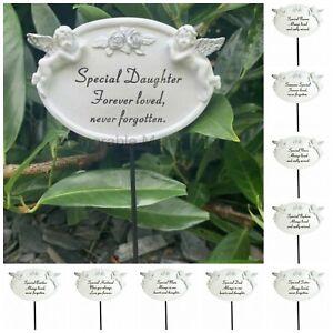 White & Silver Twin Cherub Memorial Stick Remembrance Plaque Tribute Spike Stake