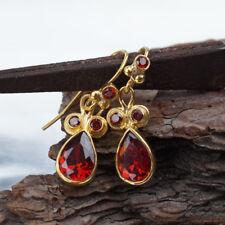 Omer Sterling Silver Garnet Dangle Turkish Earrings 24k Gold Vermeil Handmade