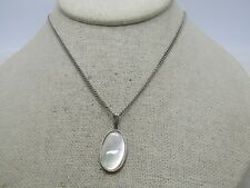 """Vintage Mother-of-Pearl Silver Tone Necklace, 16"""", 1980's"""