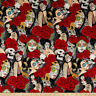 By Yard-Nocturna Pin Ups Day of the Dead Fabric Alexander Henry 8664A-2R Brite