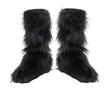 Animal / Creature Furry Boot Covers Long Blk Faux Fur Elasticized Costume Spats