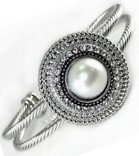 Silver Cable Cuff Bracelet White Pearl Crystal Interchangeable Charm Noosa Women