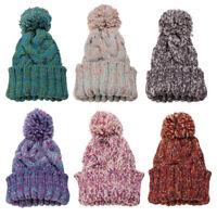 Women Ladies Knit Wool Crochet Ball Cap Beanie Wool Baggy Ski Hat Winter Warm
