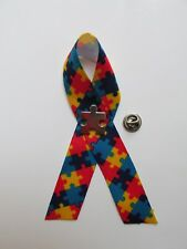 12 Autism Awareness RIBBONS w/PINS puzzle piece design lapel tac April FREE SH