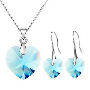 Elegant Silver Lake Blue Zircon Heart Pendant Necklace Earrings Jewelry Set