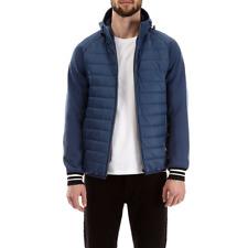 Burton Blue hooded Padded Jacket Coat Neoprene Sleeves Mens Lightweight Zip M