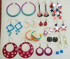 Guitar earrings, rainbow pierced earrings, red, white & blue stars, pink laptop