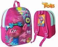 TROLLS JUNIOR BACKPACK RUCKSACK SCHOOL HOLIDAY BAG CHILDREN KID PINK GIRL POPPY