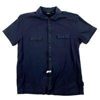 Hugo Boss Black Label Navy Blue Polo Shirt Large L Slim Fit Men's Short Sleeve