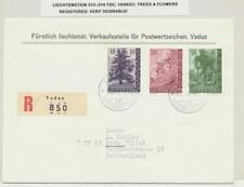 LIECHTENSTEIN 1957 Arbres & FLEURS SET sur lettre recommandée PREMIER JOUR