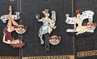 3 Hard Rock Cafe PINS Hollywood Blvd PIN UP GIRLS Set lot retro hat lapel bikini