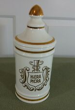 HiERA PICRA  Apothecary Pharmacy Owens Illinois Porcelain Vintage Canister Jar