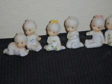 Set 9 Flambro Babies Mini Porcelain Baby Figuriness Cake Toppers 2 inch