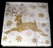Molly & Rex 40 Paper Luncheon Napkins Merry Christmas Deer 16219 Punch Studio