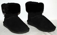 Bearpaw 1257W Abby Black Suede Ankle Boots Sherpa Lined Women's size 8 EUC