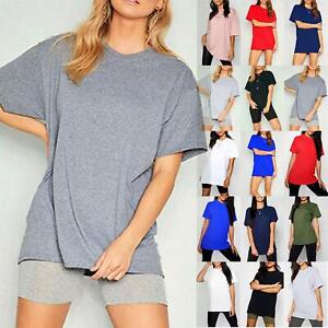Ladies Womens Basic Stretchy Jersey Casual Plain Oversized Baggy T Shirt Tee Top