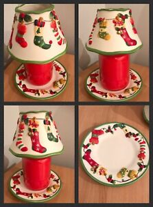 Yankee Candle rare htf Embossed Christmas Stockings large shade and plate New