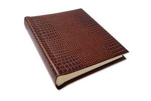 Handmade UK Leather Bound Crocodile Grain Bound Photo Album Brown Gift Boxed New