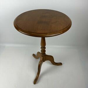 """Ethan Allen Vintage Solid Wood Side Pedestal Tulip Table 23.25"""" Tall Made In USA"""