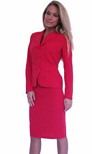 Boutique Ladies Red 2 Piece Cotton Skirt Blazer Office Suit Costume 8 - 12 14 16