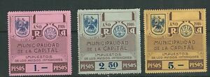 ARGENTINA BUENOS AIRES 1916 REVENUE, TAX on internal notices 3 values read desc