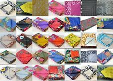 Indian Hippie Handmade Twin Vintage Cotton Bed Cover Kantha-Blanket-Quilt-Throw