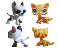 2pcs Littlest Pet Shop LPS83 Orange Tiger Striped Cat  and white Great dane dog