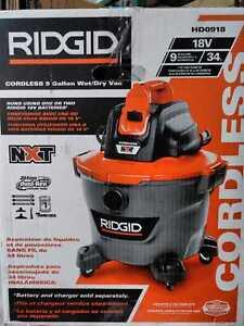 RIDGID 9 Gal. 18-Volt Cordless Wet/Dry Shop Vacuum (Tool Only)