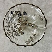 Vintage 25th Anniversary Clear Glass Footed Bowl w/ Silver Overlay Poppy Flowers