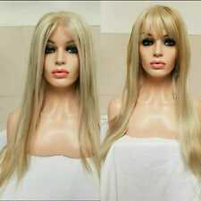 Light blonde human hair wig long, auburn highlights transparent clear lace