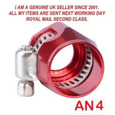 AN -4  6-12mm OD Braided Fuel Hose Line End Cover Clamp Finisher Fitting RED.