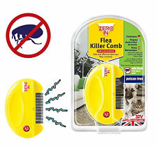 NEW ELECTRIC FLEA TICK KILLER ZERO-IN COMB FOR CATS AND DOGS CAT DOG YELLOW AAA