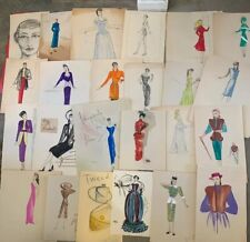 Vintage Hand Colored Design Sketch Fashion Art Tula Christian New York