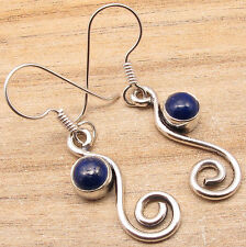 $0.99 Only !! 925 Silver Plated Earrings, NAVY BLUE LAPIS LAZULI Gems GIRLS GIFT