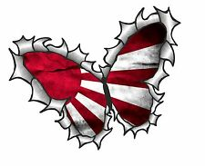 BUTTERFLY Ripped Torn Metal Design & Japanese Rising Sun Flag car sticker Decal