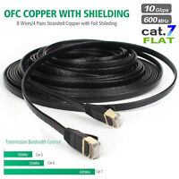 Cat7 Ethernet Cable RJ45 Flat Network Lan Patch Cord for PC Router 6/10/25/50FT